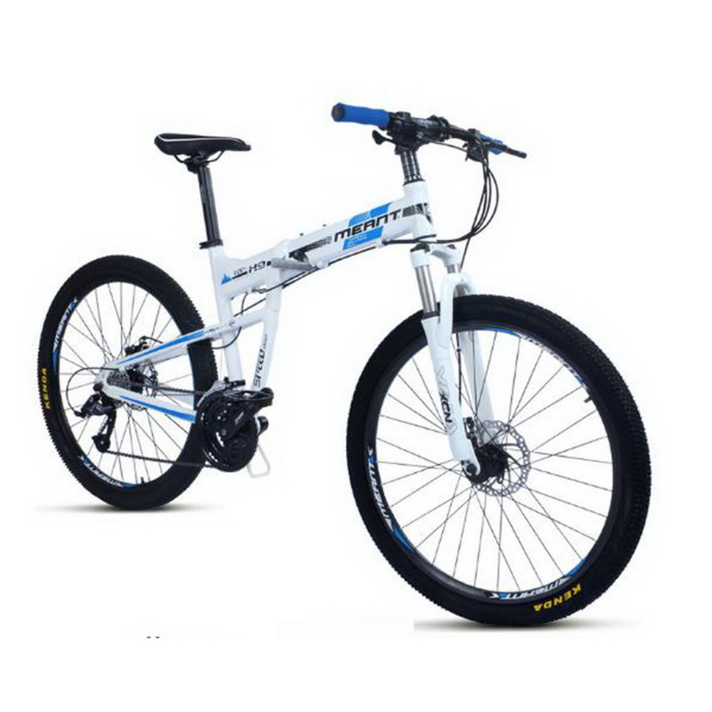 Folding mountain bike 27 speed aluminum alloy frame double disc brakes high-end student adult bycicle