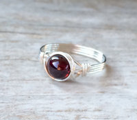 Silver Wire Wrapped Garnet Ring Handmade Sterling Silver Filled Ring Vintage Unique Designs For Women Gift