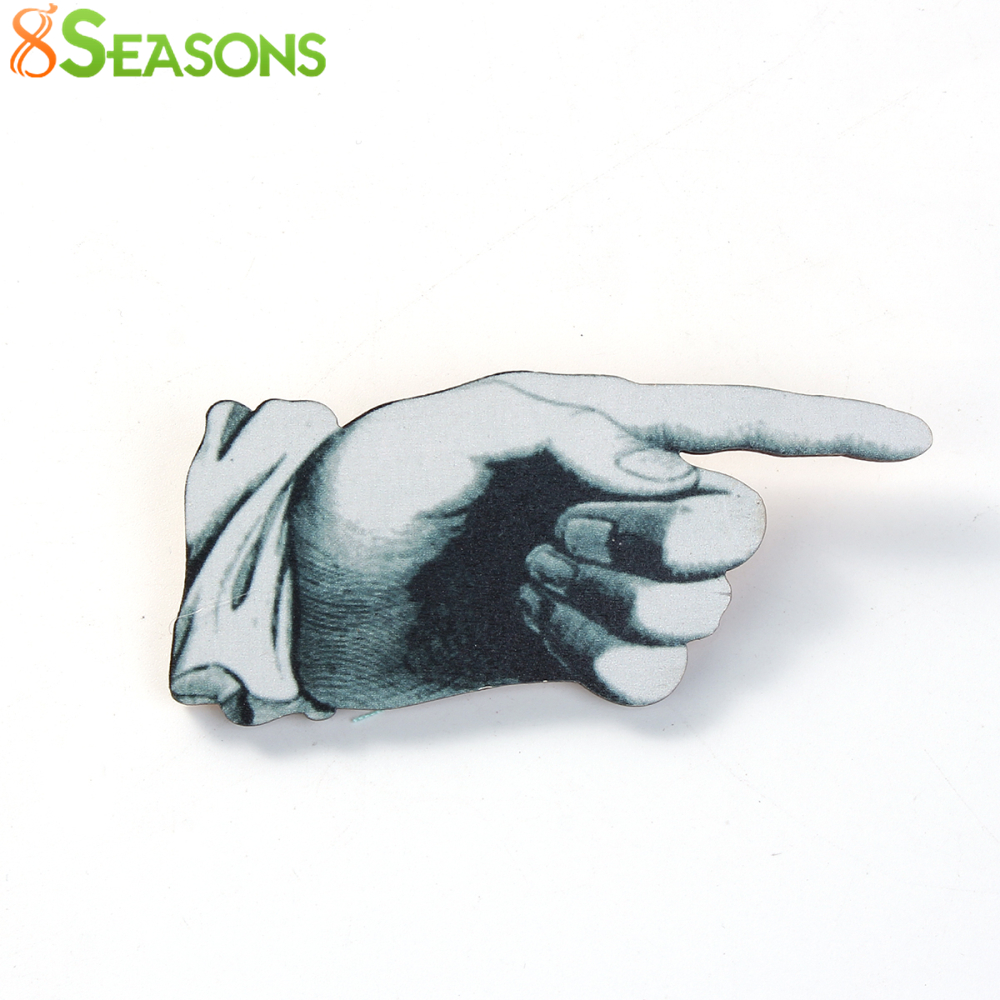 8SEASONS Wood New Safety Pin Brooch Fashion Champion Gesture Unisex Garment Accessories Jewelry 6.4cm x4.4cm, 1 PC