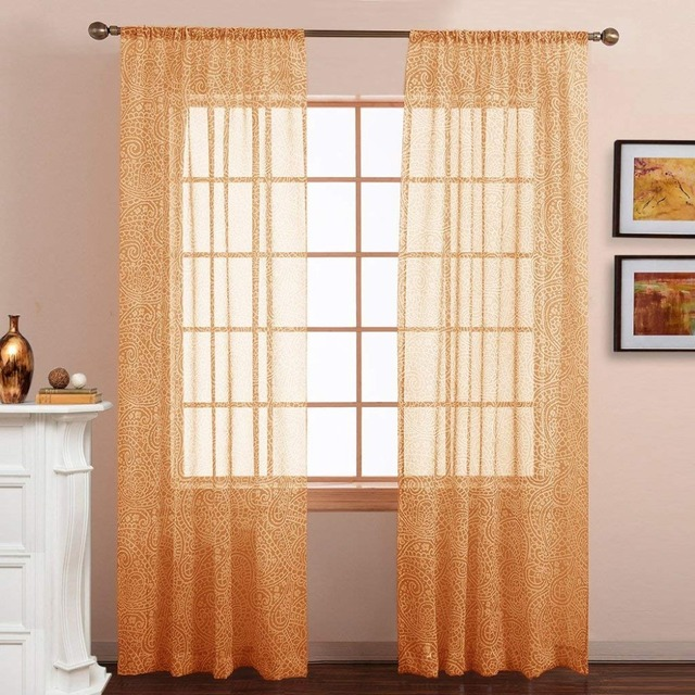 Nicetown Sheer Curtain Panels Voile Draperies Paisley Pattern Faux