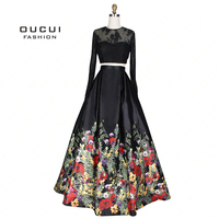Real Photos Illusion Prom Dress Ball Gown Full Sleeves Lace Party Evening Dress Long 2 Piece