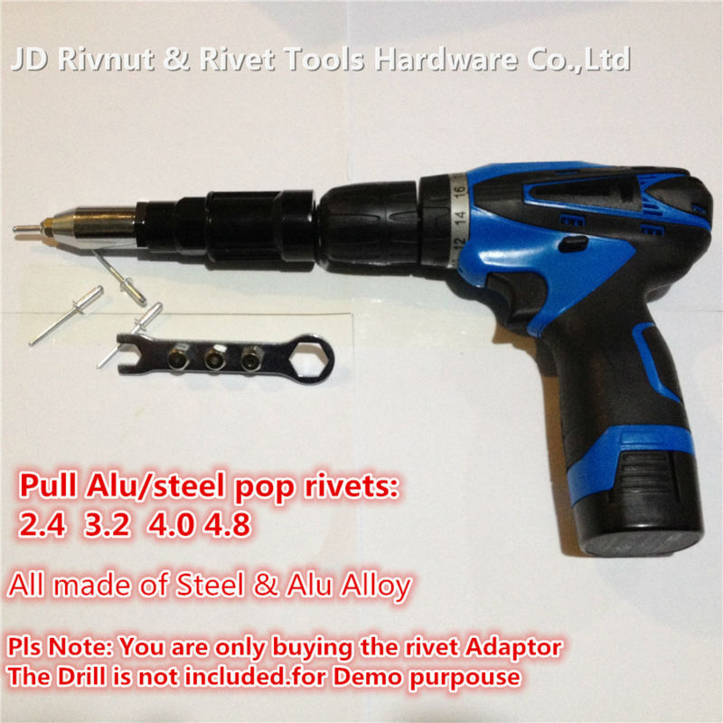 ФОТО 3/16 4.8mm Electric Pop rivet tool made of Steel and Alloy CORDLESS DRILL RIVET ADAPTER, cordless rivet adapter drill adapter