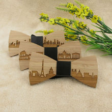 Wooden Bow Tie City Skyline Style