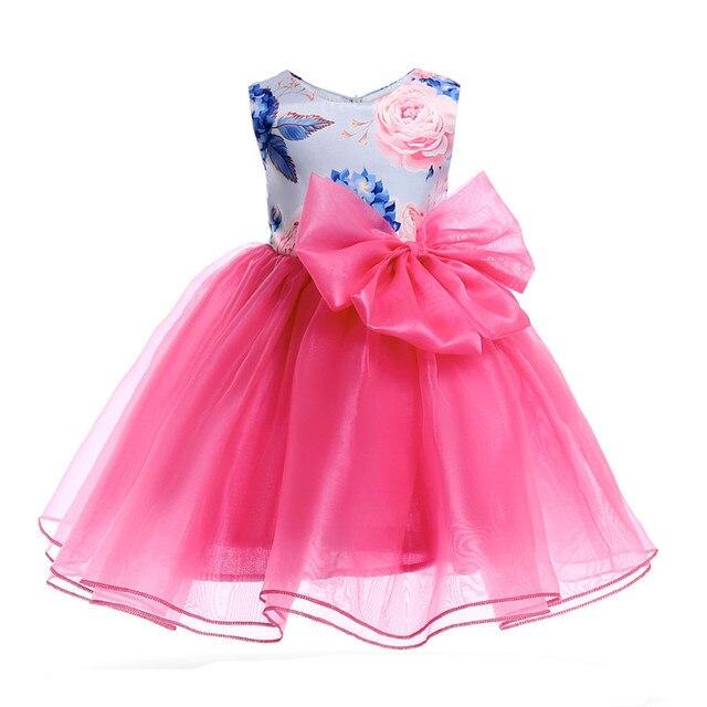 Girls Formal Dress Flowers TUTU Dresses 3-10Y Kids Children Girls Bow Beads Princess Dress Cute Fashion Party Clothes