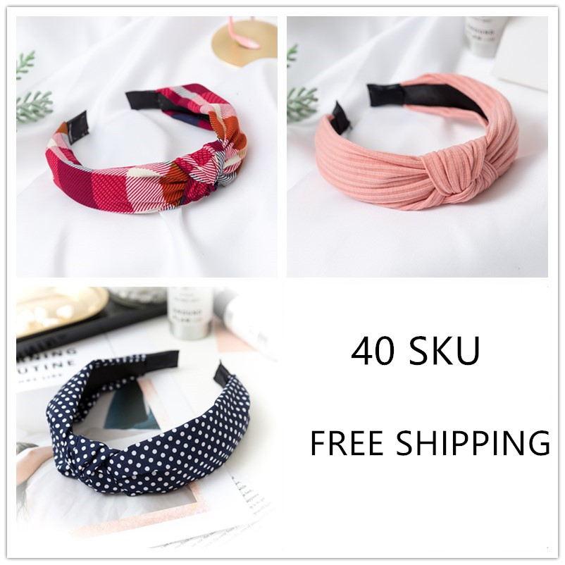 40 COLORS Free Shipping Hairband Headband for Women Elastic Turban Headband Sport Head Wrap   Headwear   Hair Accessories