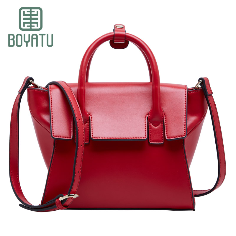 BOYATU 2018 New Fashion Designer Women Shoulder Bag Metal Tassel 100% Real Leather Tote Handbag Ladies Crossbody bolso hombro yuanyu 2018 new hot free shipping real python skin snake skin color women handbag elegant color serpentine fashion leather bag