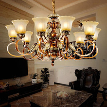 American classical resin carvings chandelier lights living room dining bedroom antique vintage luxury Iron Chandelier lamps