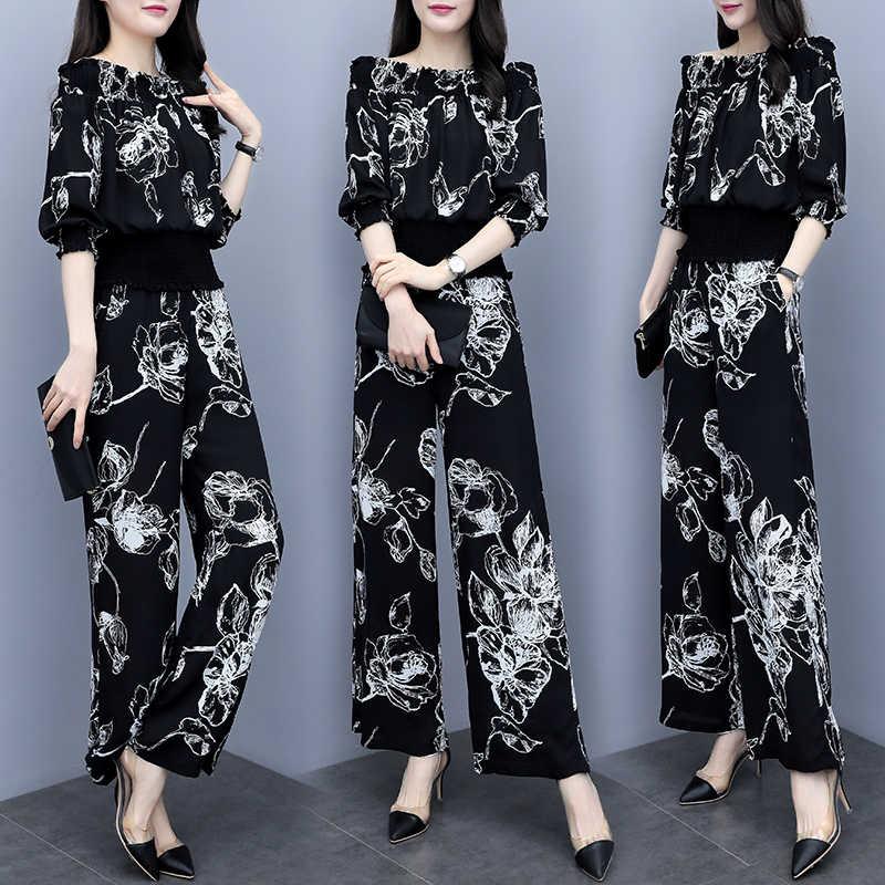 Üç Çeyrek Kollu Elastik Slash Boyun Kadın Üst Ve Geniş Bacak Tam Pantolon Çiçek Baskı Zarif Vintage Yaz Kadın Setleri