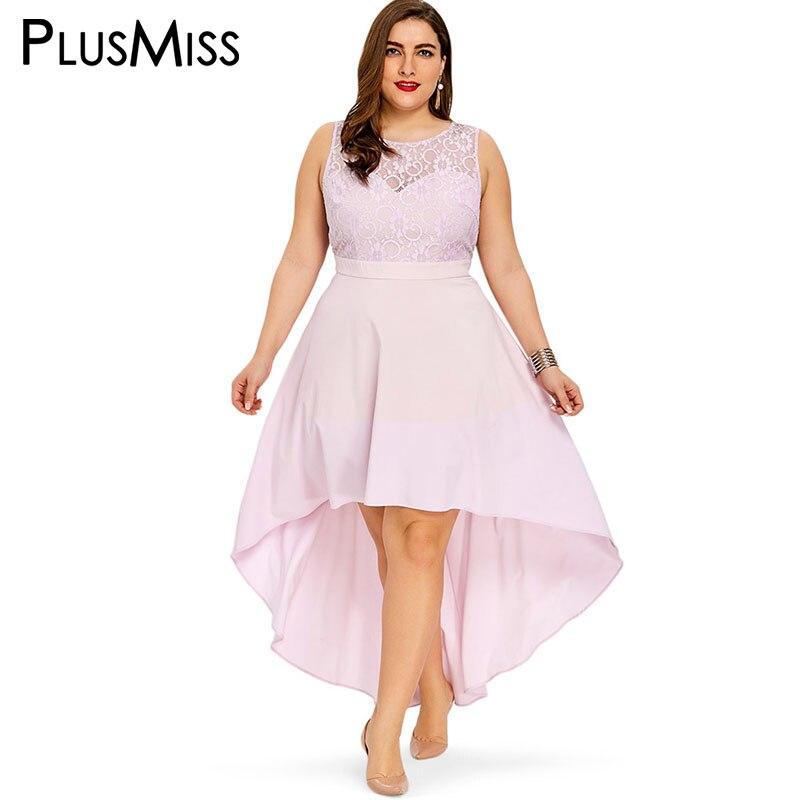 PlusMiss Plus La Taille 5XL 4XL Sexy Dentelle Sans Manches Haut Bas Maxi longue Robe D'été 2018 Femmes Rose Robes de Soirée Grande Taille Robes