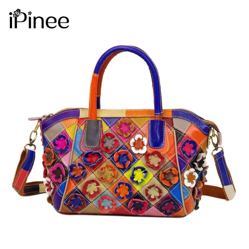 iPinee Patchwork Flowers Bags Genuine Leather Handbag Women Shoulder Bags Casual Handbags High Quality Totes Ladies Office Bag