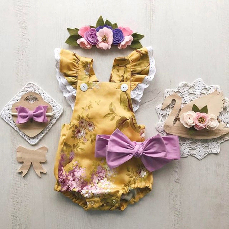0-24M Newborn Baby Girls Clothes Flower Lace Sleeveless Romper Floral Princess Jumpsuit Summer Outfits Infantil stylish round collar sleeveless lace spliced women s jumpsuit