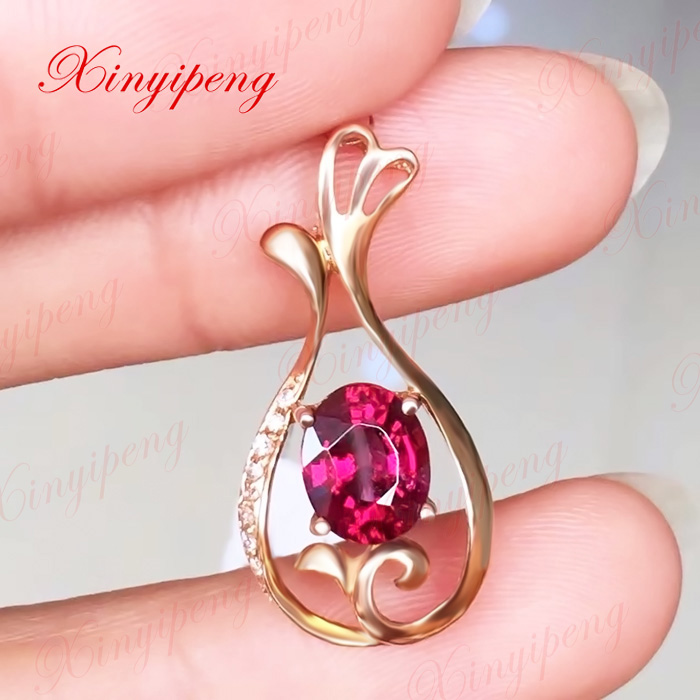 18k rose gold with 100% natural Magnesium aluminum garnet pendant Color bright fire Wine red Fashion and contracted