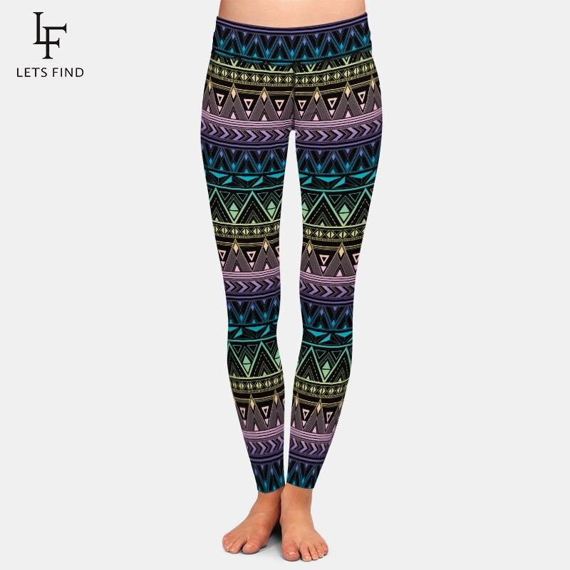 LETSFIND Fashion Women Pants Aztec Printing Punk Style Capri Legging High Waist Plus Size Stretchy Trousers Leggings