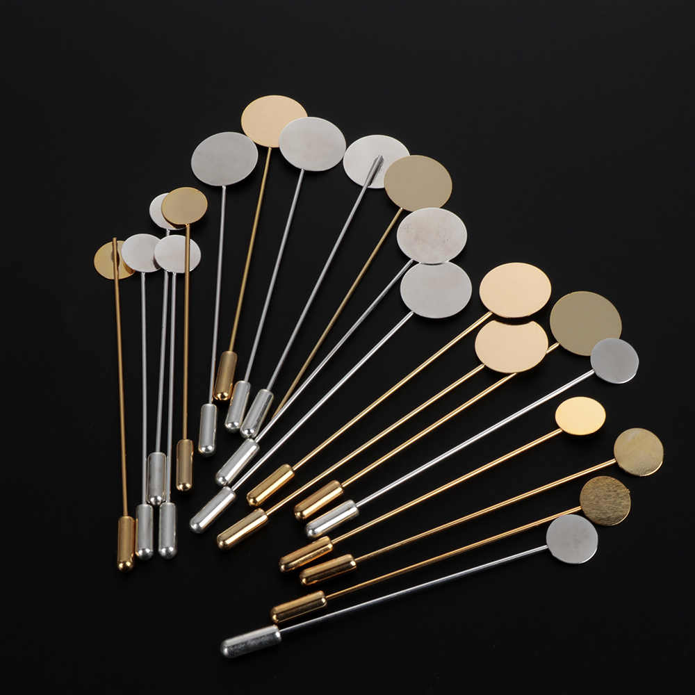 10pcs/set Gold & Silver Plated Simulated Pearl Alloy Copper Long Brooch Pin DIY Lapel Dress Jewelry Making Brooches Base/Tray