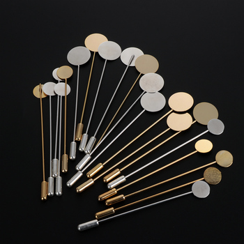 10Pcs gold-plated simulation pearl alloy copper long pin DIY lapel dress jewelry making brooch basic accessories