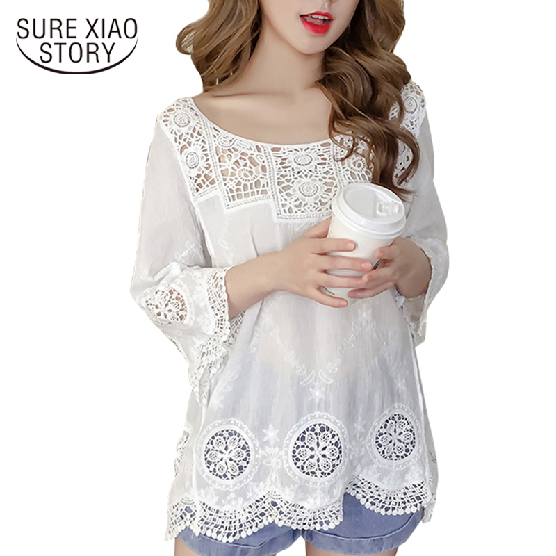 summer fashion women   blouse     shirts   2018 lace sexy ladies tops hollow out o neck clothing loose elegant women   shirts   0679 40