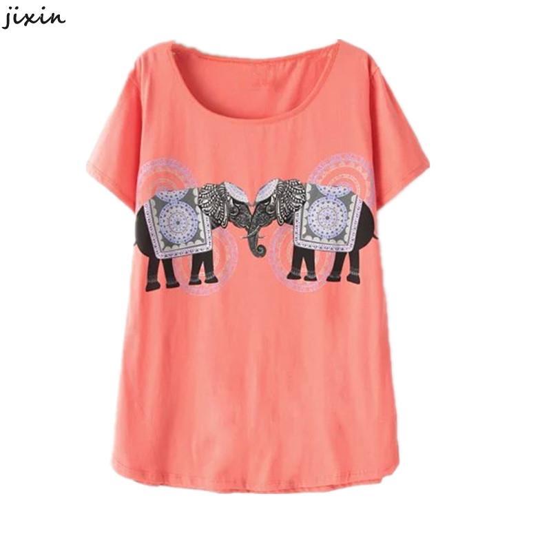Summer style basic t shirt women elephant print o neck for Elephant t shirt women s