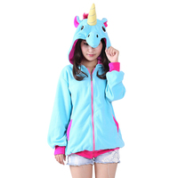 New 2017 Women Hoodies Novelty Cartoon Unicorn Sweatshirts Women Cardigan Fleece Hoodies Girl Autumn Winter Cute