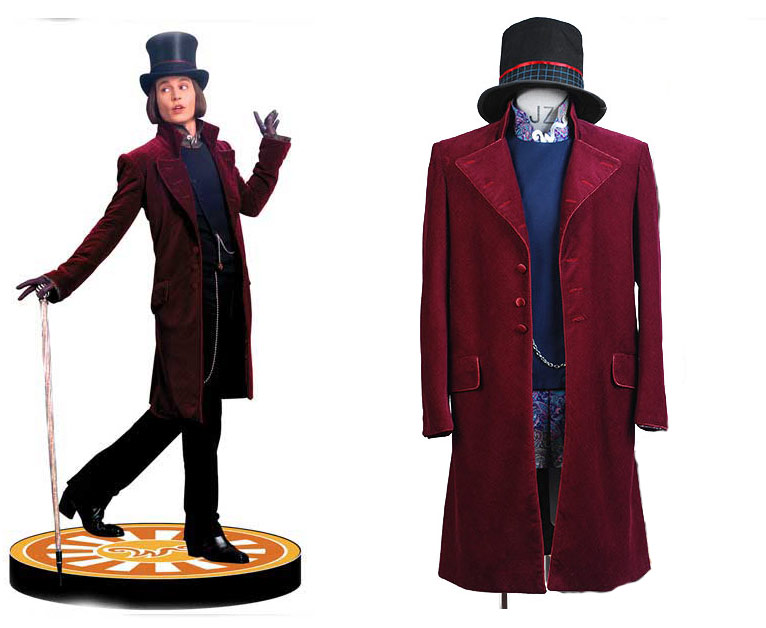 Charlie and the Chocolate Factory Cosplay Willy Wonka Costume A Full Set Uniform Costume for party