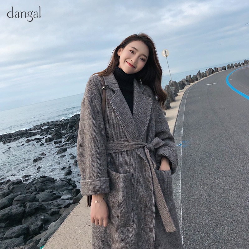 Dangal 9086 Women 2018 New Autumn Winter Warm Retro Ins Coat Loose Cotton Thickened Coat Grid MD-LONG Batwing Sleeve Wool Coat