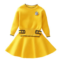 Girls Clothing Sets Kids Knitted Suits Long Sleeve Jackets+Skirts 2Pcs for Kids Suits Girls Party Suit Girls Outerwear CA373