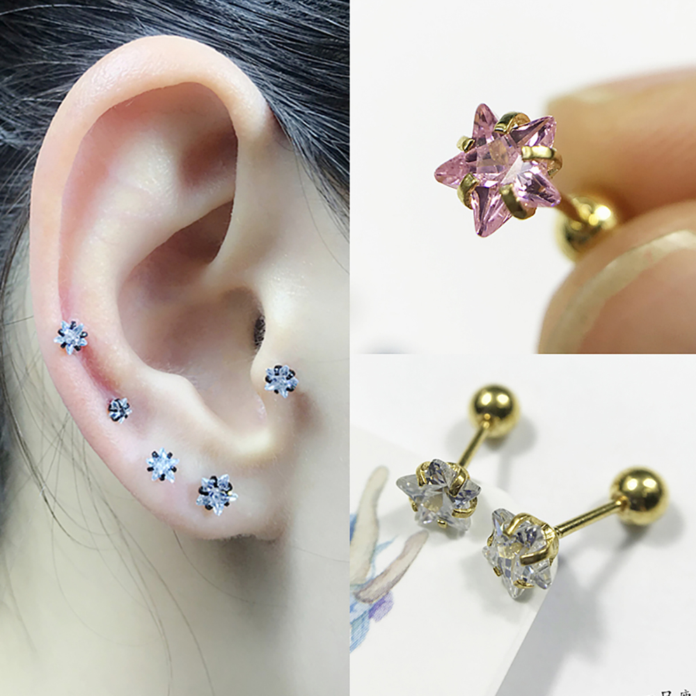 Bodysparkle Body Jewelry Tiny Star Daith Earring 16 Gauge Steel