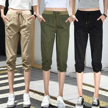 Elastic Waist Women Capris Pants Summer 2019 Plus Size Casual For Solid Color Calf-Length