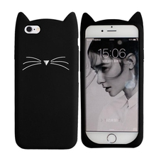 Innovation For iPhone 5 SE Case Cute Cartoon Cat 3D Silicone Soft Back Cover White Black Pink Phone Shell Funda For iPhone 5S