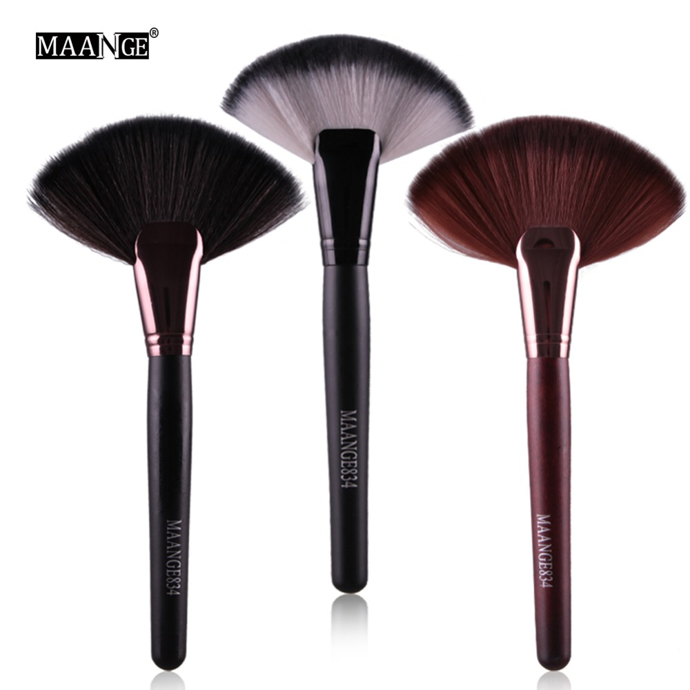 MAANGE Professional 1pc Soft Makeup Large Fan Brush Blush Loose Powder Foundation Beauty Make Up Tool Big Fan Cosmetics Brushes