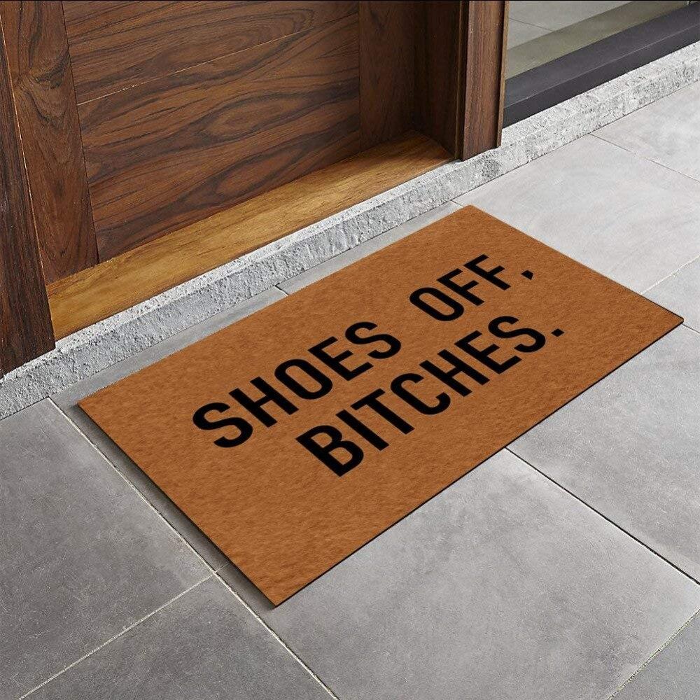 Entrance indoor funny doormatShoes Off, Bitches floor entry front door bedroom mats for entrance outdoor