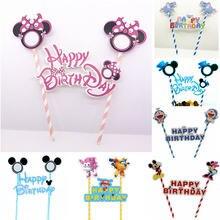 dc1eba9d0 1 set Feliz cumpleaños Mickey Mouse dibujos animados de Topper de la torta  de bandera de pajitas de papel bebé ducha pastel de c.