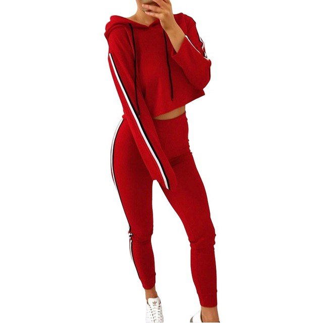 2 Piece Set Top And Pants Sexy Striped Ladies Leisure Two Pieces Pullover Suits 2