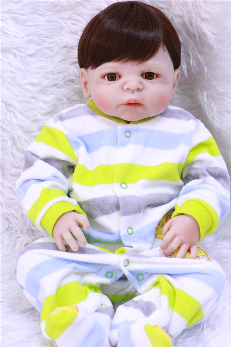 Adorable dollmai 57CM Reborn Doll Handmade Full Silicone Bebe Reborn Boy Doll Boneca In Cute Clothes male body fake baby dolls цена