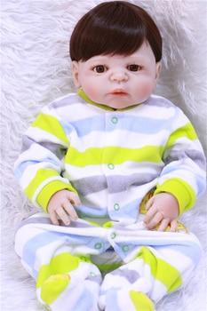 Adorable dollmai 57CM Reborn Doll Handmade Full Silicone Bebe Reborn Boy Doll Boneca In Cute Clothes male body fake baby dolls