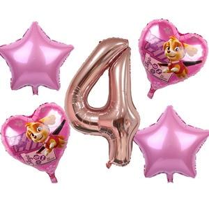 Image 4 - 5pcs ורוד שמיים מרדף PAW סיירת שחור עלה זהב לב לסכל בלוני מספר מסיבת יום הולדת דקור הליום Globos צעצועים תינוק מקלחת