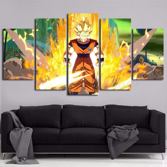 Poster Picture 5 Panels Canvas Painting Dragon Ball Son Goku Wall ...