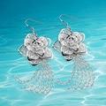 Мода Стерлингового Серебра 925 Пробы кисточки леди серьги, ретро ювелирные изделия пион цветы серьги для красивых девушек, Мода долго