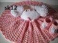 Vestido de crochê bebê, Infantil, Ameixa, Branco