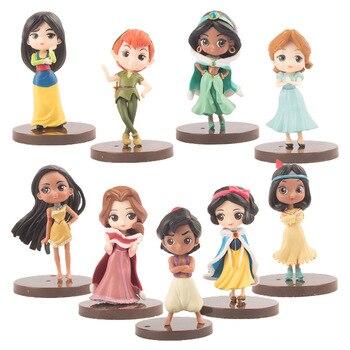 Q Posket Princesses Snow White Belle Aladdin Pocahontas Tiger Lily Peter Pan PVC Figures Toys 9pcs/set