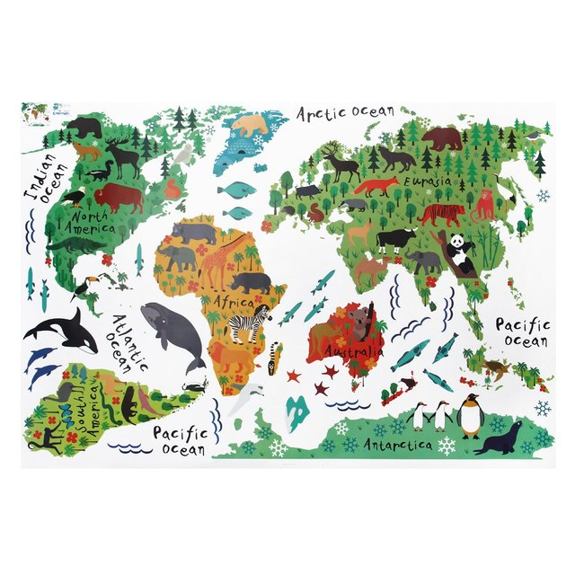 Colorful Cute Animal World Map Stickers Living Home Decor - World map mural for kids