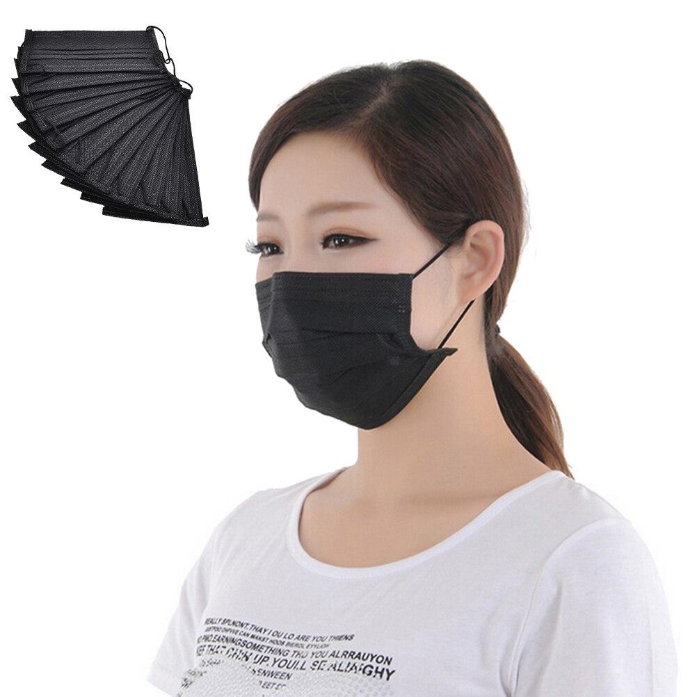 10 Pz/pacco Nero Non Tessuto Usa E Getta Viso Maschera Medical Dental Clip Carbone Attivo Anti-polvere Viso Mascherine Chirurgiche Promuovi La Produzione Di Fluidi Corporei E Saliva