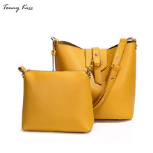 Tonny Kizz luxury handbags women bags designer female composite crossbody leather ladies  bucket shoulder solid color
