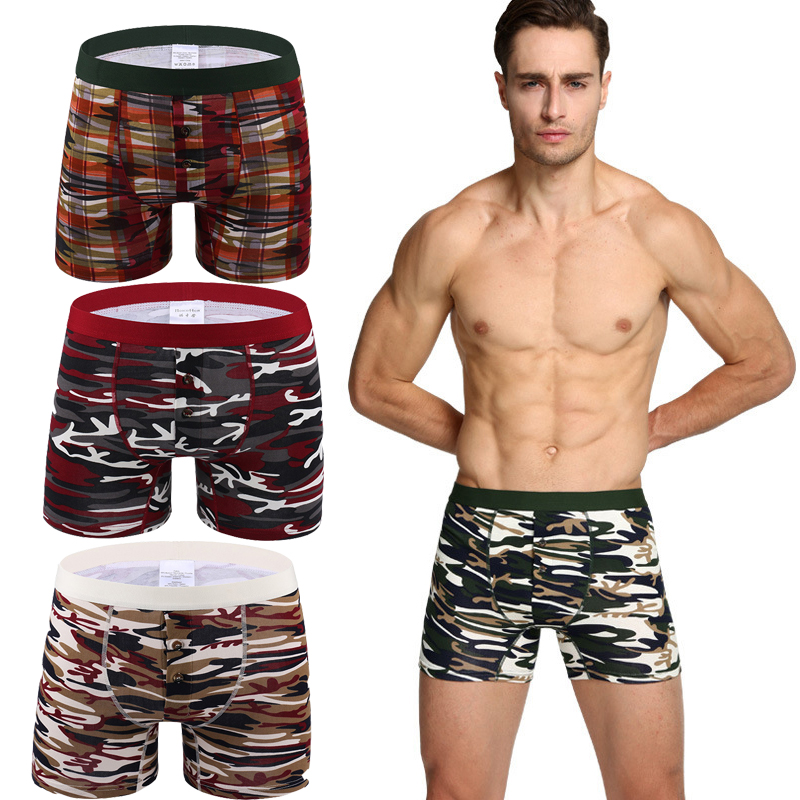 NEW Camouflage Button Men's Long Underwear Cotton Men Boxer Plus Size Boxer Men Boxer Homme Underpants Cuecas Calzoncillos