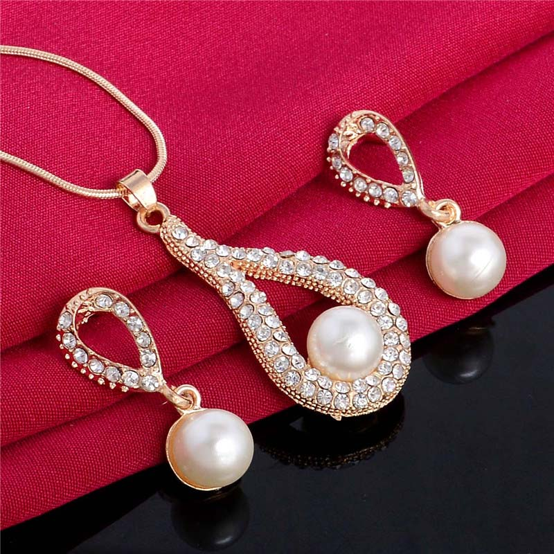 H:HYDE Jewelry Set For Women Noble Simulated Pearl Wedding Engagement Accessories Water Drop Earrings Necklace Jewelry Set