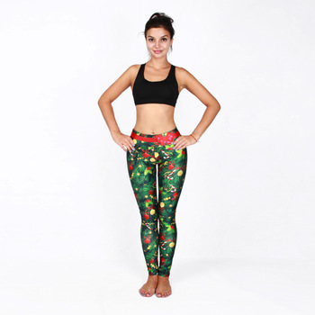 Sexy Christmas Yoga Pants  Elastic Printing Sports Running  Fitness  Leggings Gym Tights Women Self-cultivation Workout Pants sexy sports bra and leggings