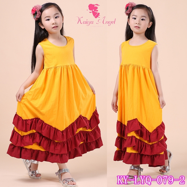 2407f8c4721 Retail 2016 Summer Long Maxi Beach Dress Ruffle Cotton Dresses Princess  Kids Costumes Children Baby Long Dress-in Dresses from Mother   Kids on ...