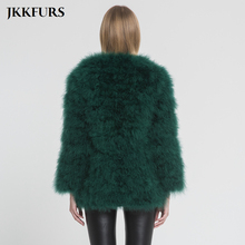 Fur Coat Long Style Genuine Ostrich Feather Fur Winter Warm Jacket