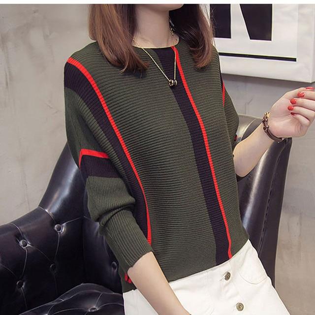 נשים פסים סוודרים 2019 סתיו אופנה נשי חדש הגעה סרוג סוודר חולצות Loose אלגנטי כותנה למשוך Jumper