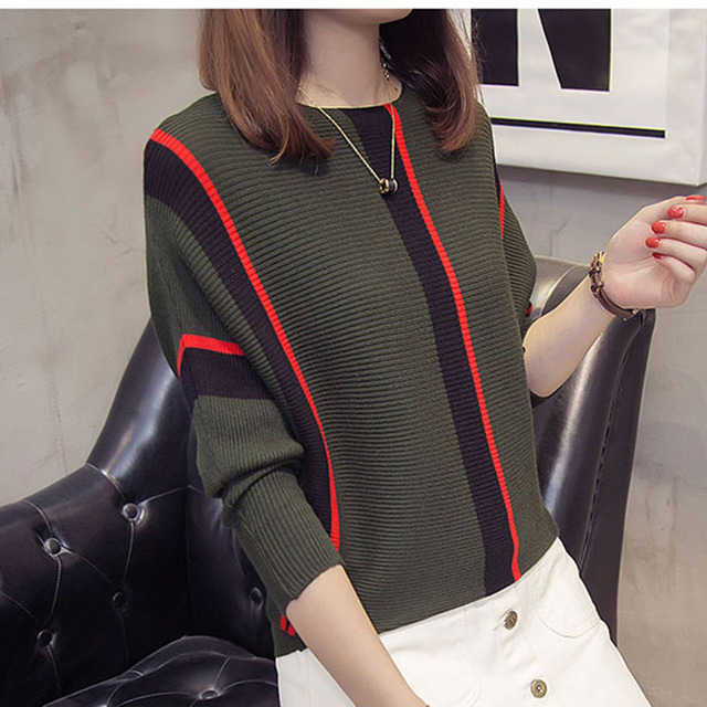 Women Striped Sweaters and Pullovers 2019 Fall Fashion Female New Arrival Knitted Pullover Tops Loose Elegant Cotton Pull Jumper