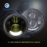 2PCS 5 LED Fat Bob Motorcycle Headlight For Harley Sportster Motorbike Headlight LED Motorcycle Head Light WF R055H